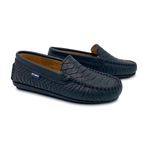 Atlanta Moccasin Black Alligator Print Loafer 18520