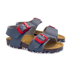 Garvalin Grey and Red Buckle Sandal 20247