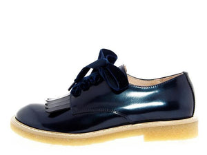 Acebos Navy Patent Leather Fringe Lace Oxford
