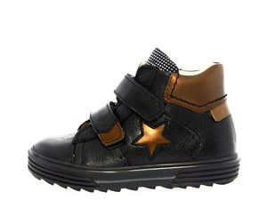 Acebos Black Bronze Leather Double Velcro Strap High Top Sneaker