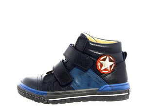 Acebos Navy Blue Double Velcro High Top Sneakers