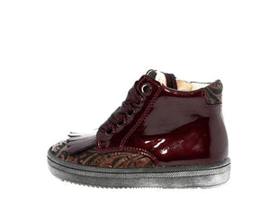 Acebos Toddler Burgundy Laced Fringe High Top with Side Zipper 5053