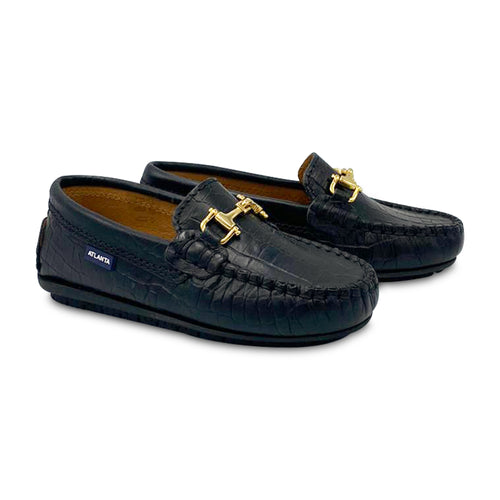 Atlanta Black Crocodile Print Chain Loafer  17813