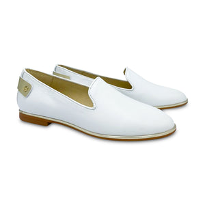 Blublonc Lexi White Gold Trim Slip on