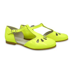 Sonatina London Neon Yellow Patent Leather T-strap