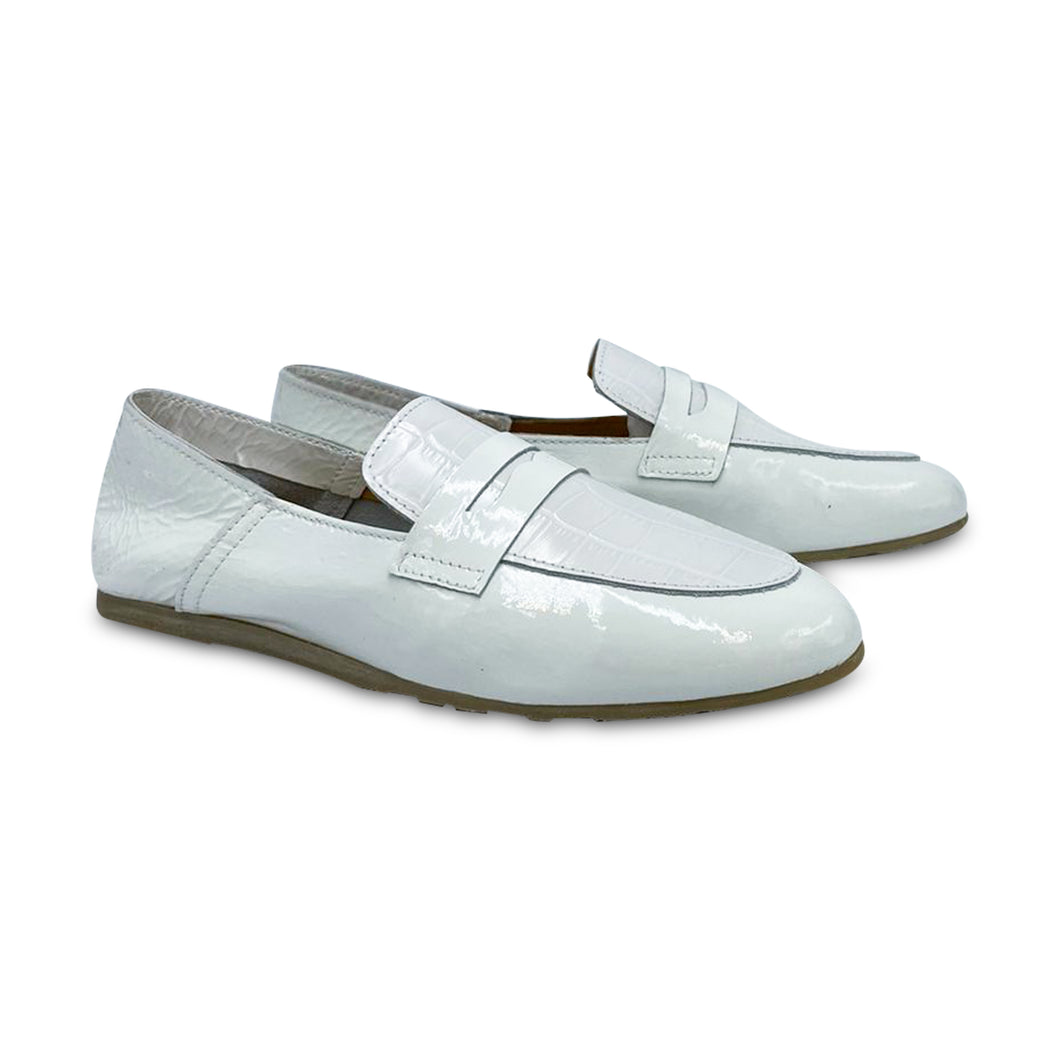 LMDI White Crocodile Slip on 0274
