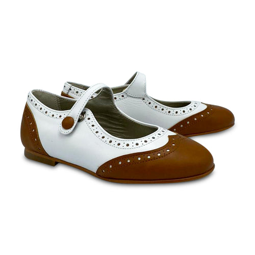 Geppetto's ES X LS White Cognac Wingtip Mary Jane 138739