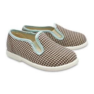 Pepe' ES X LS Brown Gingham Skye Blue Trim Print Slip On 014-21