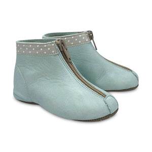 Pepe' ES X LS Mint Green Polka Dot Ribbon Trim Front Zipper Bootie 225-21