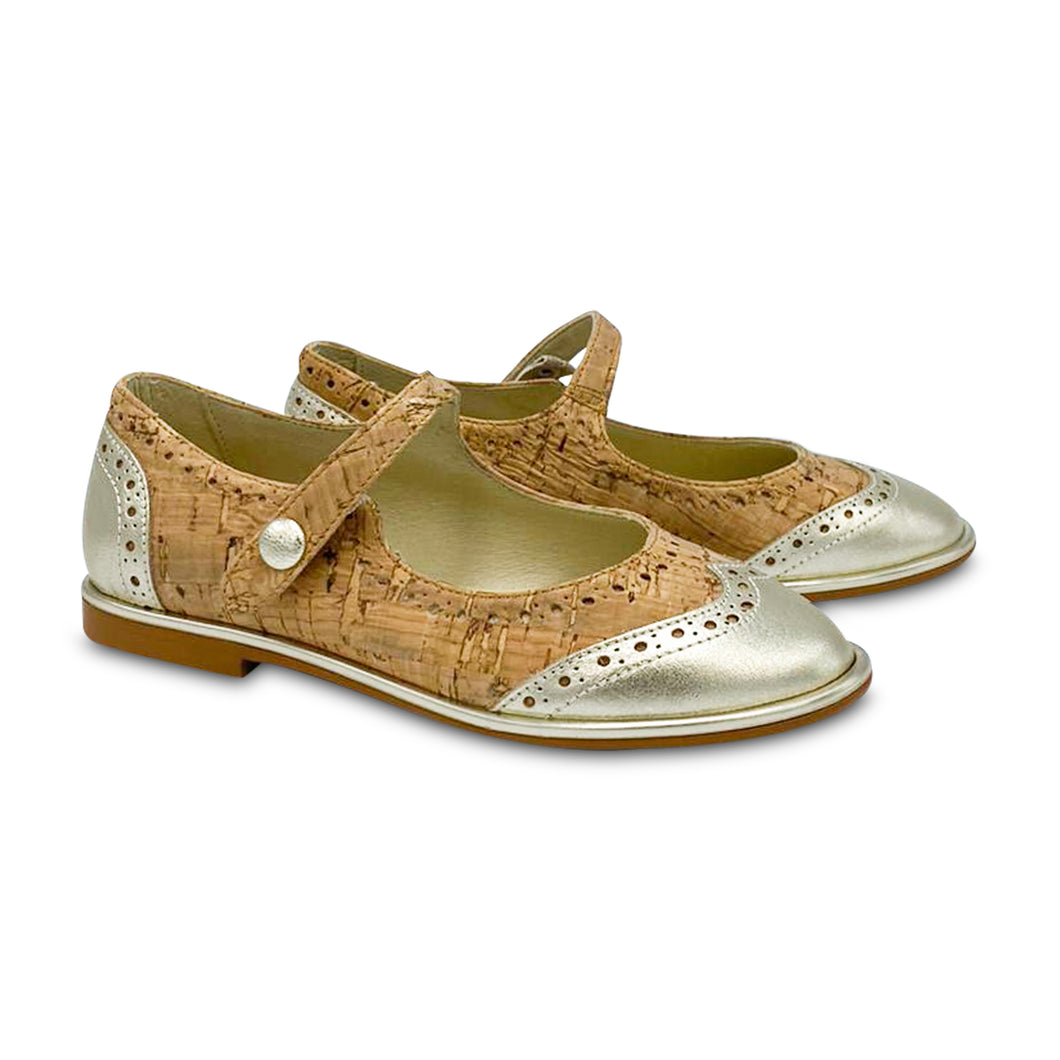 Blublonc Celia Cork Gold Wingtip Mary Jane