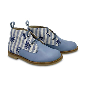 Manuela De Juan Light Blue Sea Lace Up Toddler Bootie S2436