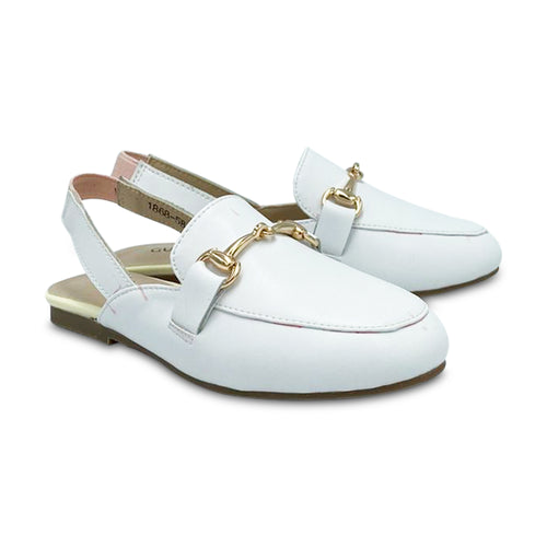 Gufanpei White Leather Slingback