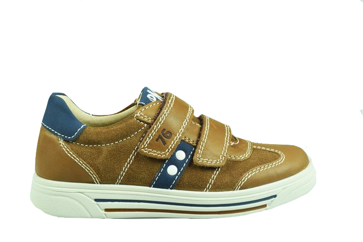 Primigi Brown Suede with Navy Stripe Velcro Sneaker 3383100