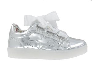 Primigi  Leather Silver Star with White Bow Light Up Sneaker 3457400