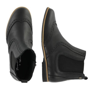 Manuela De Juan Black Natural Wingtip Side Zipper S2369
