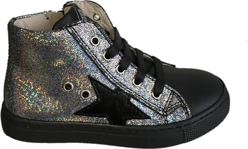 Shoe B 76 Black Silver High Top Side Zipper Sneaker 55