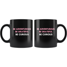 Load image into Gallery viewer, Be Curious Black Coffee Mug - Mystical Berries