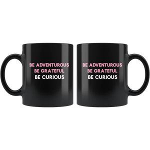 Be Curious Black Coffee Mug - Mystical Berries