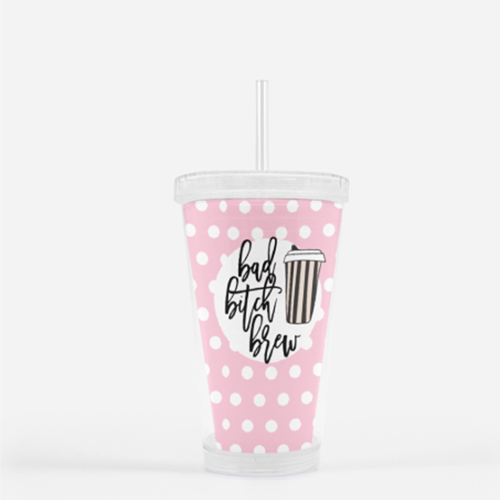 Bad Bitch Brew 16oz Plastic Tumbler - Mystical Berries