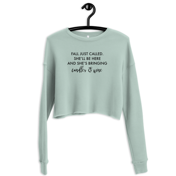 Fall's Bringing Wine & Candles Crop Sweatshirt - Mystical Berries
