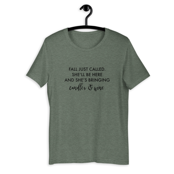 The Fall Called, She's Bringing Wine & Candles Short Sleeve T-Shirt - Mystical Berries