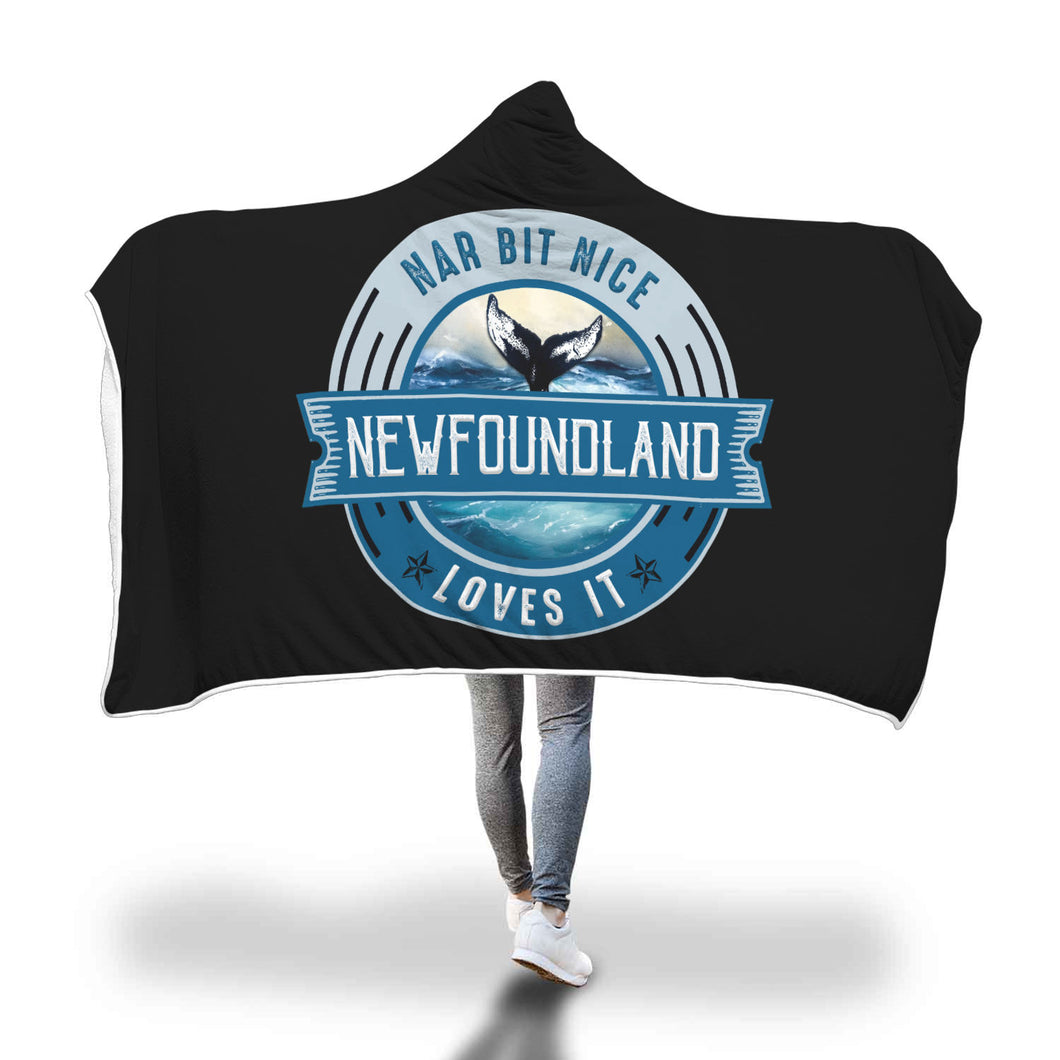Nar Bit Nice Loves It Black Fluffy Hooded Blanket - Youth & Adult Sizes