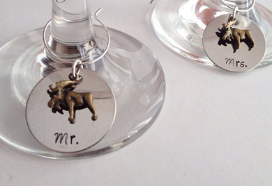 Newfoundland Handmade Moose Wine Glass Charms