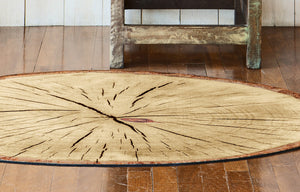 Rustic wood slice floor mat