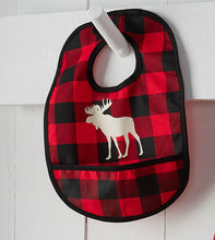 Load image into Gallery viewer, Little hunter buffalo plaid moose baby bib