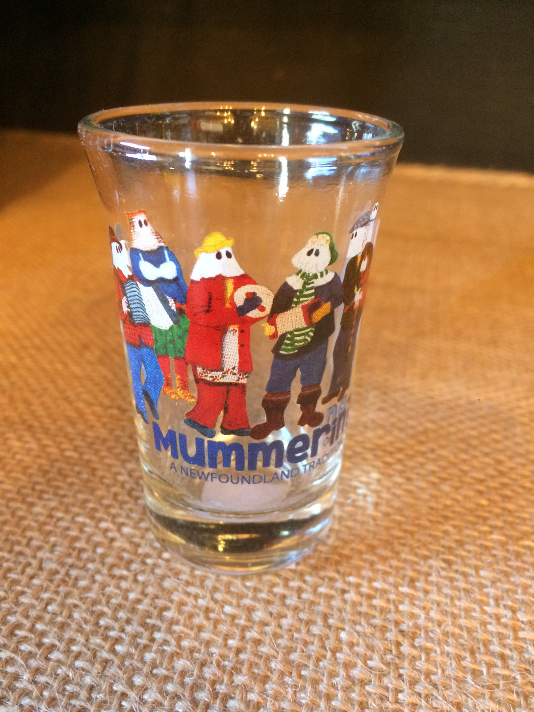 Mummers shot glass