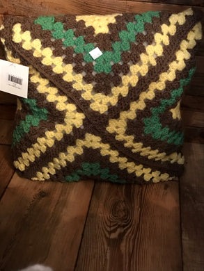 Knitted Handmade Afghan Pillow (Square)