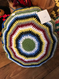 Knitted Handmade Afghan Pillow (Round)