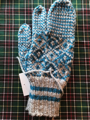 Men's Knitted Grey/Torquoise Finger Trigger Mittens