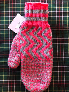 Ladies Pink / Grey Knitted Mittens
