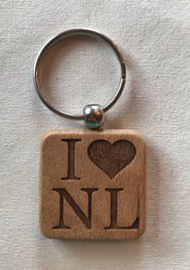 Laser Engraved Keychain -  Square I (heart) NL