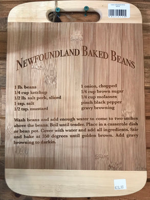 Laser Engraved Newfoundland Recipe Cutting Board - Baked Beans
