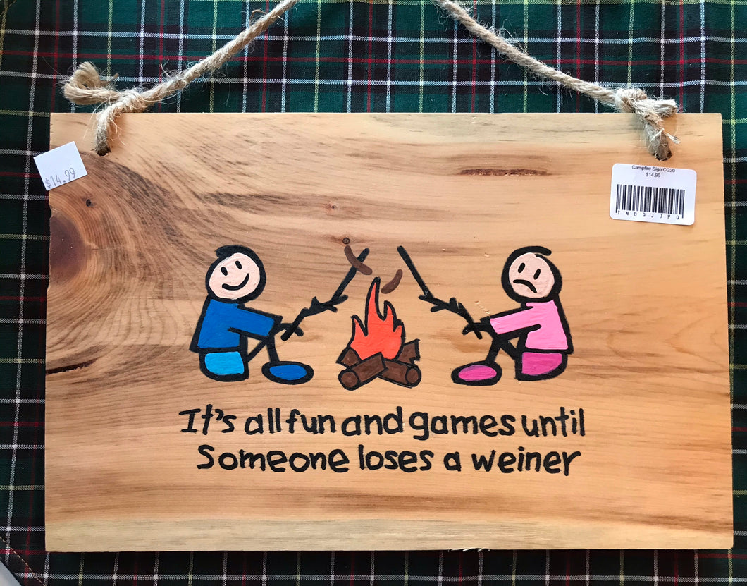 Campfire Hand Painted Sign