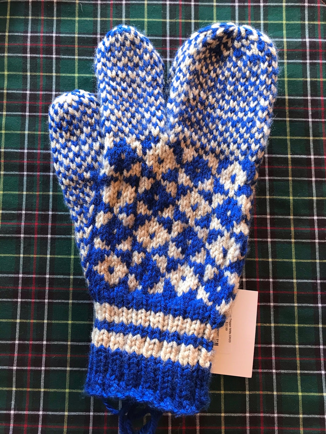 Men's Knitted Blue/Cream Finger Trigger Mittens