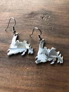 Pewter Newfoundland Map Handmade Earrings