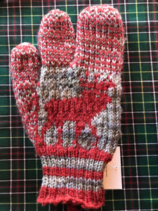 Men's Knitted Moose Finger Trigger Mittens
