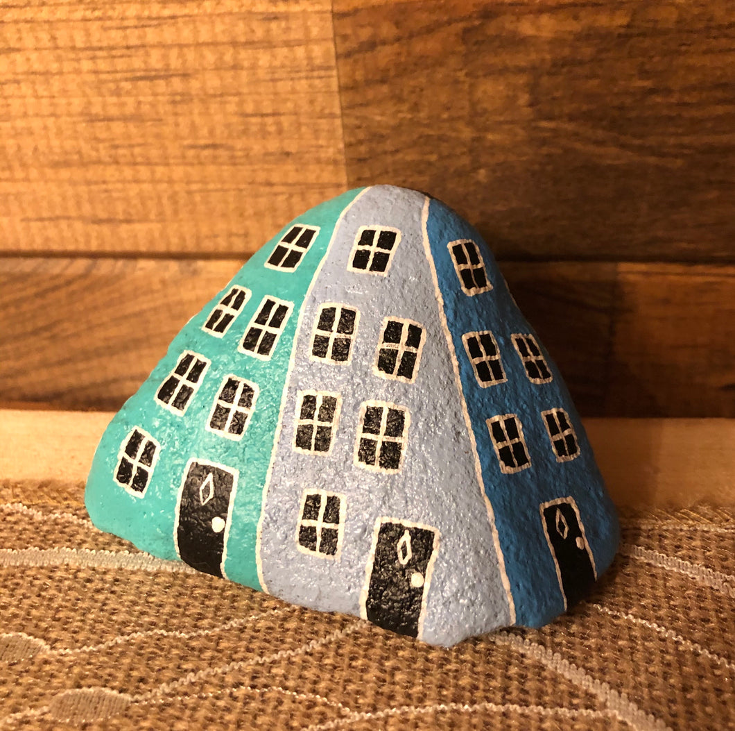 Hand Painted Rowhouse Painted Rock MEDIUM #2
