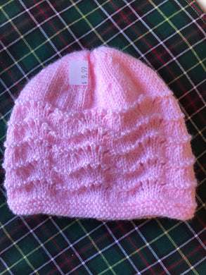 Baby Knitted Hat - Pink or Cream