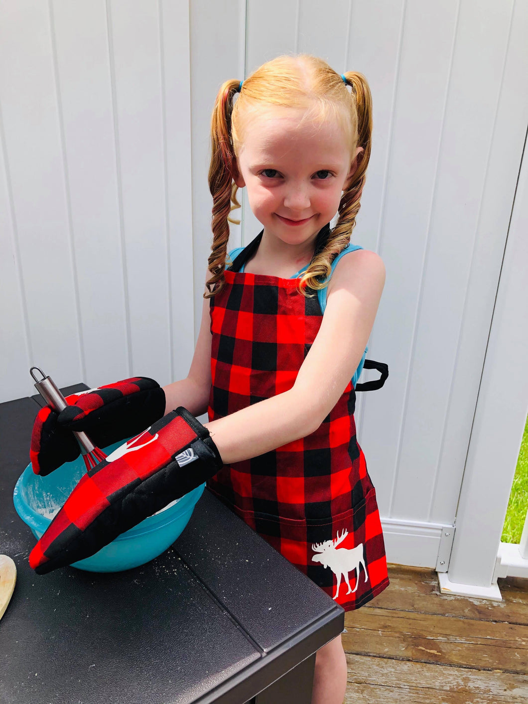 Child Moose buffalo plaid apron