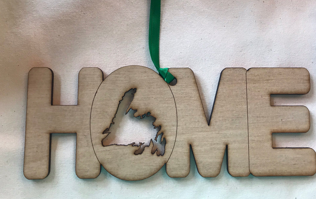Wooden Laser Cut HOME ornament with Newfoundland cut out