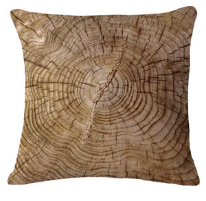 Cabin Life - Wood Slice Linen Pillow Cover
