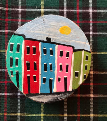 Hand Painted Rowhouse Wooden Magnets