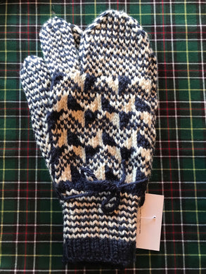 Men's Knitted Navy/Cream Finger Trigger Mittens
