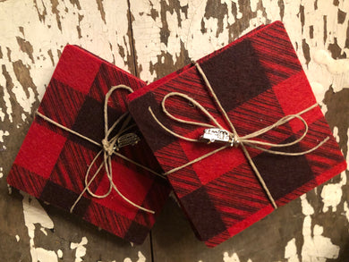 Cabin Life Set of 2 Buffalo Plaid Coasters