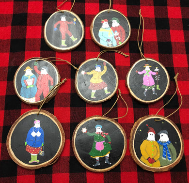 Hand Painted Mummers Wooden Ornaments