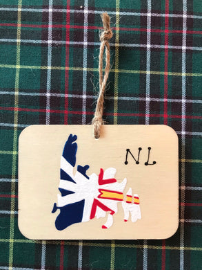 Newfoundland Map Hand Painted Ornaments